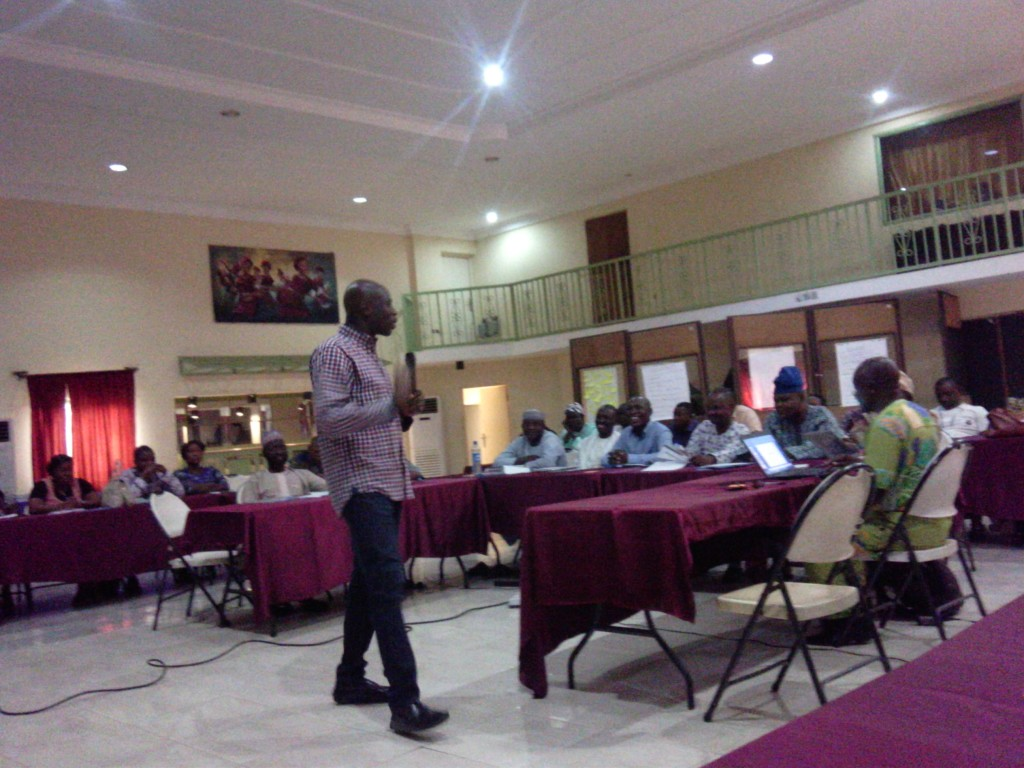 Saheed speaking at the WaterAid Nigeria Media Network Workshop in Oturpko, Benue State