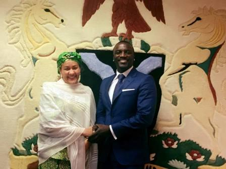 Nigeria's Minister of Environment, Hajia Amina Mohammed and Akon